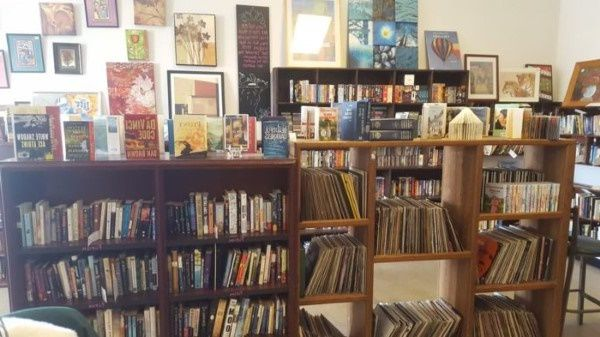 Books and vinyls for sale in a North Dakota thrift store