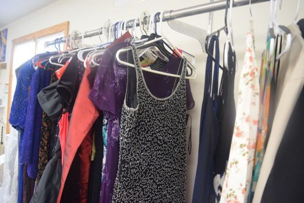 Clothes on a rack in a Maine thrift store