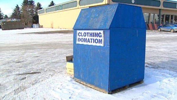 Clothing donation bin in Rhode Island