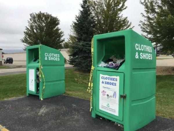 Clothing donation bin in Wisconsin