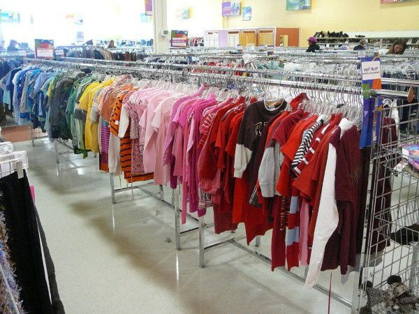 Colorful clothes for sale in a thrift store in Minnesota