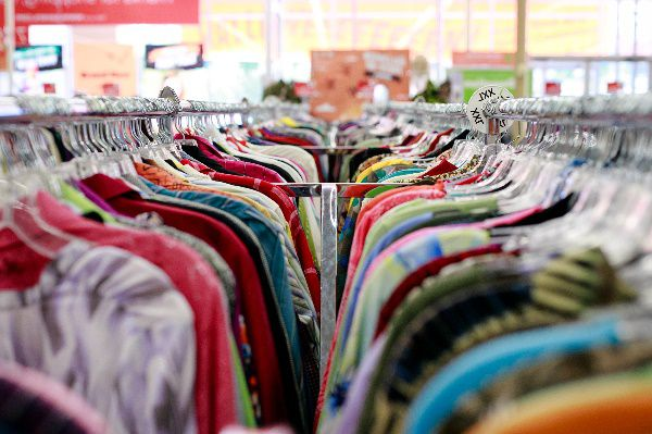 Donated clothes being sold in an Arc thrift store