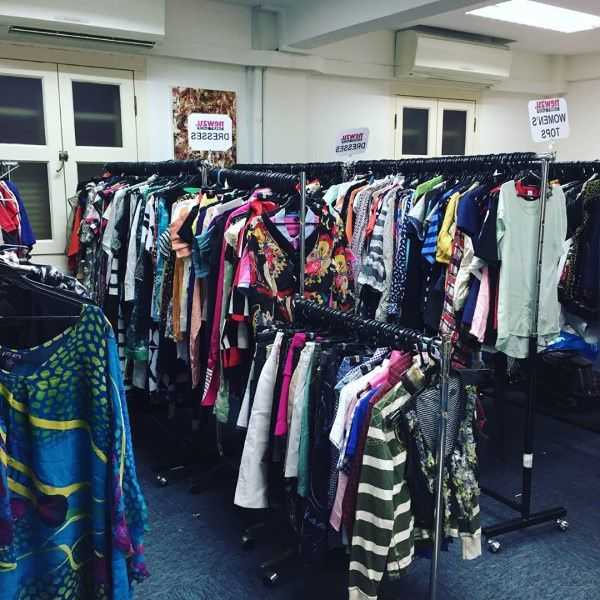Donated clothes for sale in California thrift store