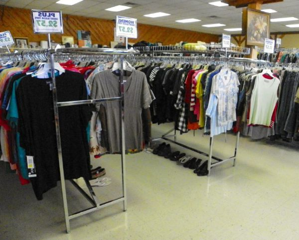 Donated clothes for sale in a thrift store in Nebraska