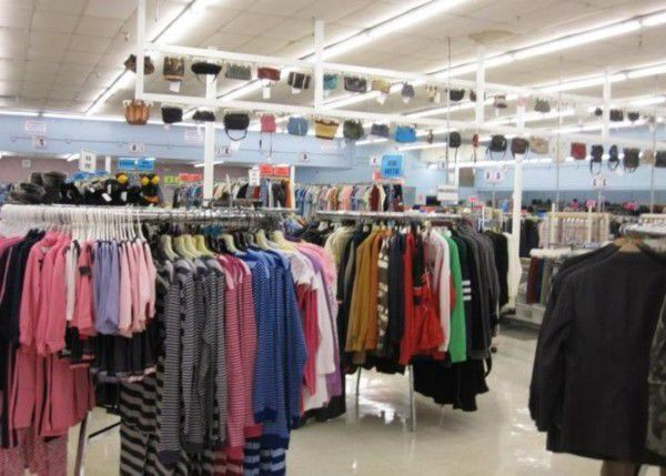 Donated clothes for sale in an Ohio thrift store