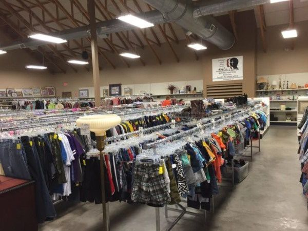 Donated clothes in a thrift store in North Dakota