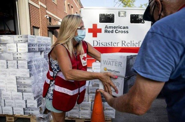 Donations being handed out by Red Cross