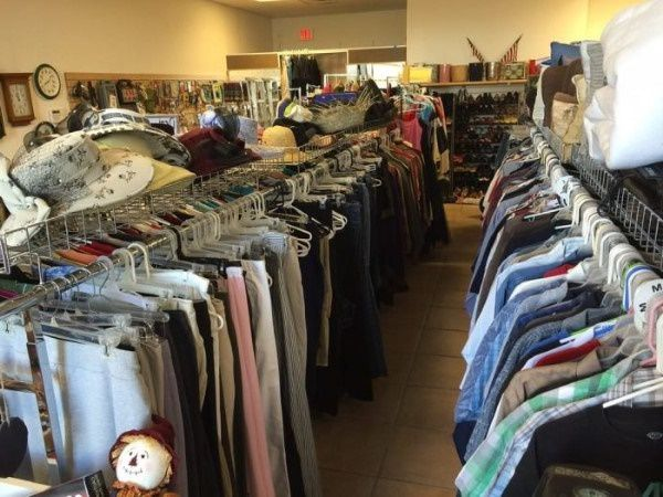 Rack of clothing for sale in a Nevada thrift store