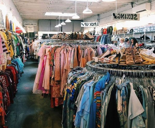 Racks of clothes for sale in a Michigan thrift store and donation center