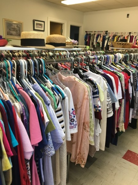 Row of clothes for sales in a Delaware thrift store