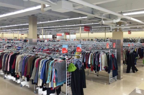 Rows of clothes in a Massachusetts thrift store