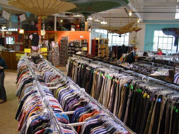 Rows of donated clothes to thrift store in Arizona