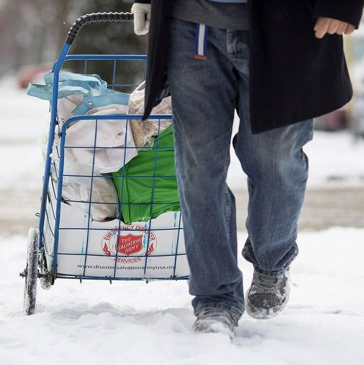 Salvation Army giving donations to those in need
