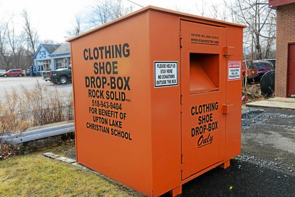 Shoe and clothing donation bin in Washington state