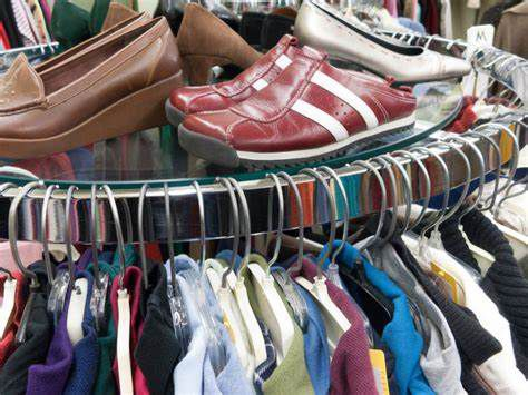 Shoes and clothes for sale in a Florida thrift store