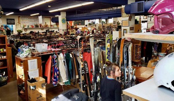 Skis and other clothes for sales in a Colorado thrift store