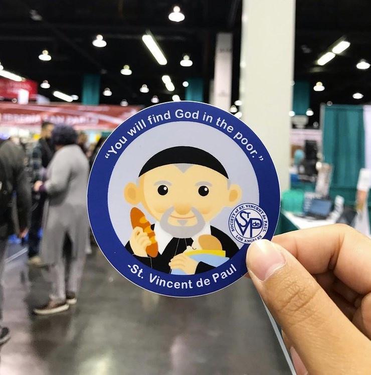 St Vincent de Paul sticker inside a thrift store