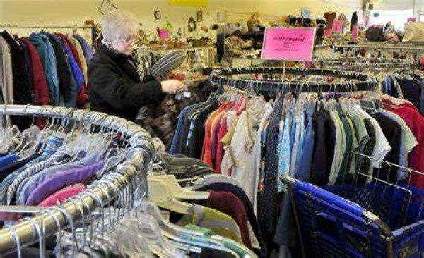 Thrift store in Maine selling a range of clothing