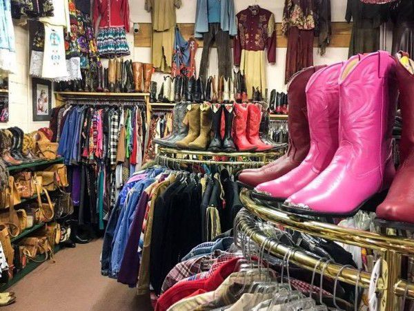 Thrift store in New Mexico seling a range of clothing items