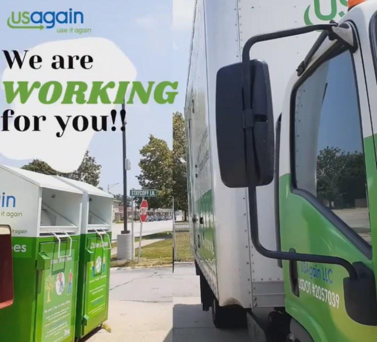USAgain donation bins and pickup truck