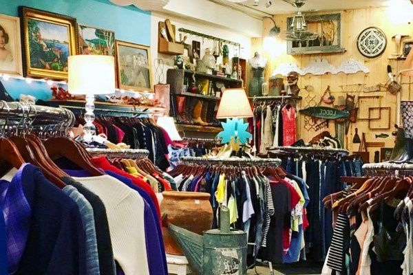 Vintage clothes for sale in a New York thrift store