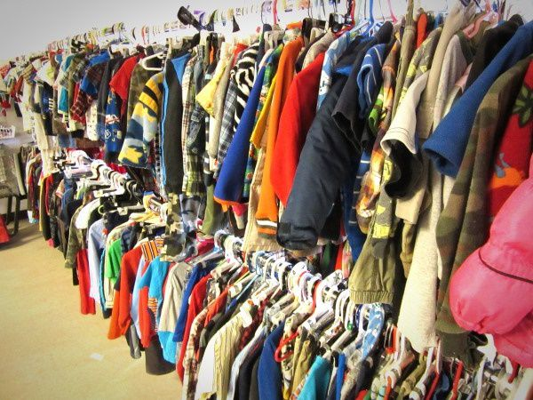 Warm clothes donated to a thrift store in Alaska